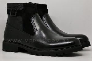 Glossy black high ankle boot for men